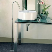 "Floor-standing goose-neck spout 42 3/8""H. No pop-up, mixer sold separately."