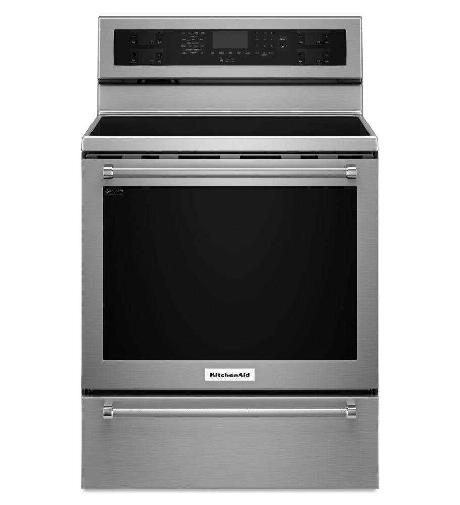 KitchenAid® 30-Inch 5 Element Electric Convection Range with Warming Drawer - Stainless Steel