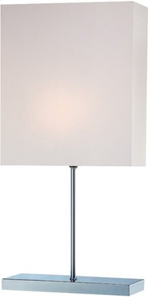 Table Lamp, Chrome W/white Fabric Shade, E27 Cfl 13w