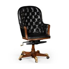 Chesterfield Style High Back Walnut Office Chair, Upholstered in Black Leather