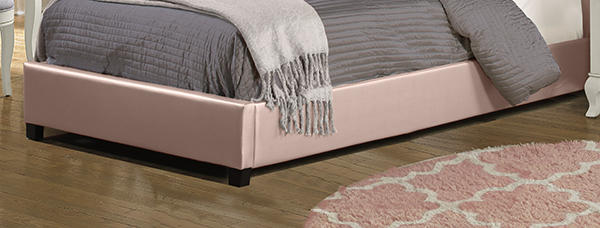 Karley Footboard and Rails - Full - Embossed Pink With Glass Button