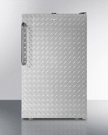 "Commercially Listed ADA Compliant 20"" Wide Built-in Undercounter All-refrigerator, Auto Defrost With A Lock, Diamond Plate Wrapped Door and Black Cabinet"