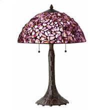 60W X 2 Hand Crafted Natural Amethyst Gem Stone Table Lamp With Zinc Cast Base