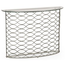 Interlaced Silver & Glass Demilune Console