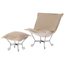 Scroll Puff Chair Linen Slub Natural Titanium Frame