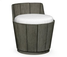 Swivel Grey Storage Bucket Stool, Upholstered in COM