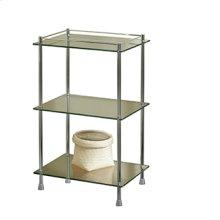 Essentials Freestanding Three Tier Glass Shelf Unit With Feet