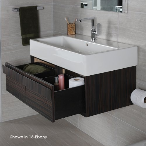 "Wall-mount undercounter vanity with large wood pulls on two drawers, 38 3/4""W, 17 3/4""D, 12""H, washbasin 5460 sold separately."