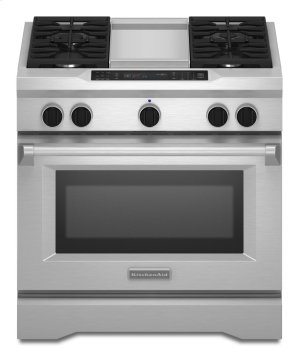 36'' 4-Burner with Griddle, Dual Fuel Freestanding Range, Commercial-Style - Stainless Steel Product Image