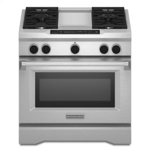 36'' 4-Burner with Griddle, Dual Fuel Freestanding Range, Commercial-Style - Stainless Steel - STAINLESS STEEL