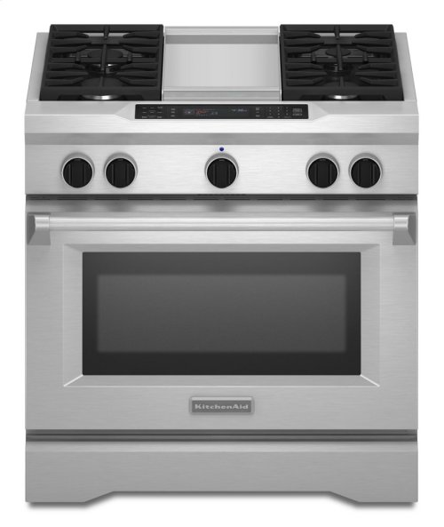 36'' 4-Burner with Griddle, Dual Fuel Freestanding Range, Commercial-Style - Stainless Steel