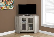 "TV STAND - 42""L / DARK TAUPE CORNER WITH GLASS DOORS"
