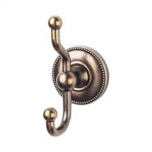 Edwardian Bath Double Hook Beaded Backplate - German Bronze