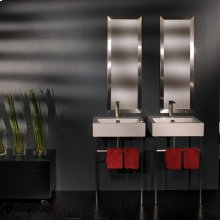 Floor-standing metal console stand with a towel bar (Bathroom Sink 5464 sold separately), made of stainless steel or brass. It must be attached to wall.
