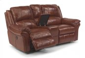 Dandridge Leather Power Reclining Loveseat with Console