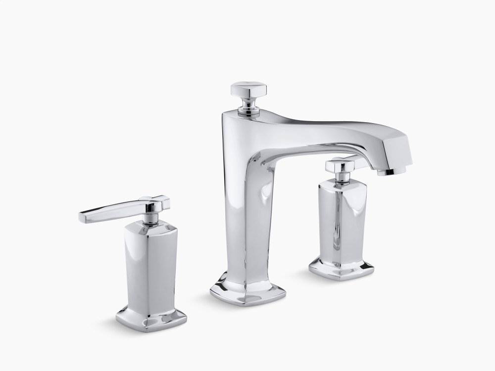 Vibrant Brushed Nickel Deck-mount Bath Faucet Trim for High-flow Valve With Diverter Spout and Lever Handles, Valve Not Included
