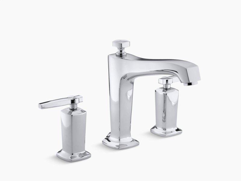 Polished Chrome Deck Mount Bath Faucet Trim For High Flow Valve With Diverter Spout Hidden