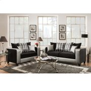 Riverstone Implosion Black Velvet Living Room Set with Black & Shimmer Steel Frame Product Image