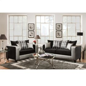Riverstone Implosion Black Velvet Living Room Set with Black & Shimmer Steel Frame
