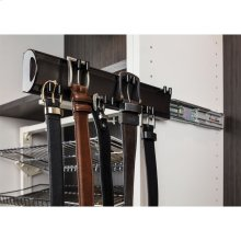 """Polished Chrome 14"""" Belt Rack. 6 double hooks design to hold an array of belt sizes. Mounted on a push-to-open slide and easily installs with our Quick-Brac 32mm installation bracket. Can be mounted left or right handed."""