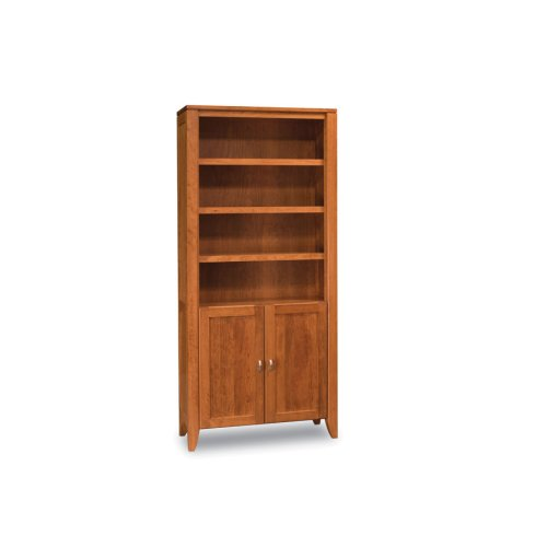 Justine Bookcase, Wood Doors on Bottom, 3-Adjustable Shelves