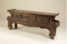 HAND CARVED NATURAL FINISHED T EAKWOOD CONSOLE TABLE WITH FLORAL DECORATION