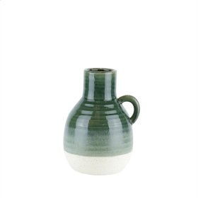 "Ceramic Handle Vase, 10"" Green"