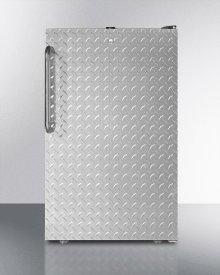 "ADA Compliant 20"" Wide Freestanding Refrigerator-freezer With A Lock, Diamond Plate Door, Black Cabinet and Pro Towel Bar Handle"