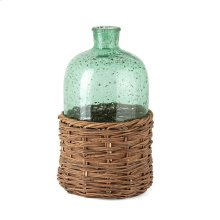 Rikard Large Green Glass Bottle with Bamboo