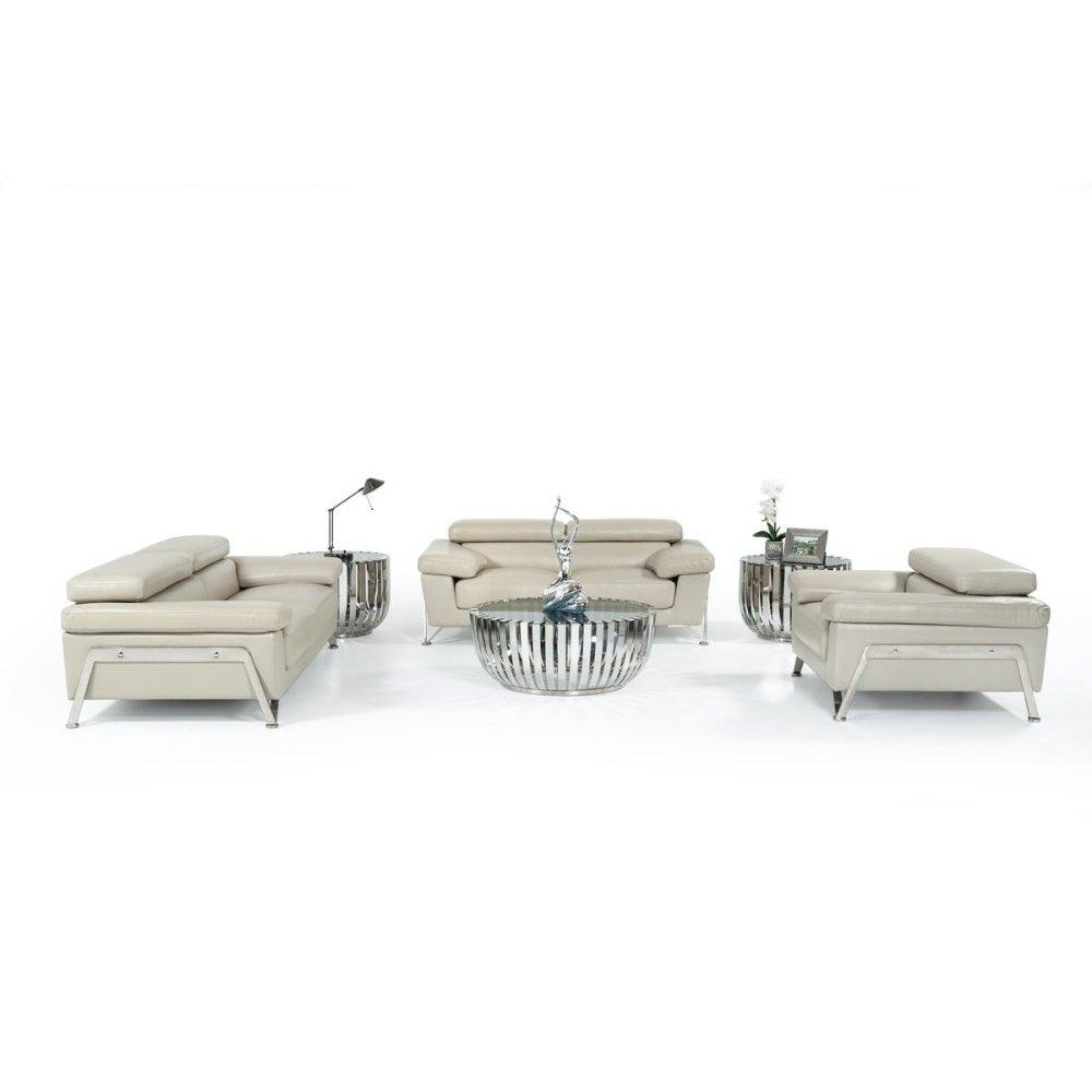 Divani Casa Encore - Modern Grey Leather Sofa Set