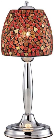 Table Lamp, Chrome/red Mosaic Shade, Type B 60w