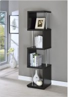 - Four tier bookcase finished in black with chrome details- Constructed with steel, MDF, particle board, and engineered veneer- Also available in white (#801418) Product Image