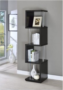 - Four tier bookcase finished in black with chrome details- Constructed with steel, MDF, particle board, and engineered veneer- Also available in white (#801418)