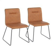 Casper Chair - Set Of 2 - Black Metal, Camel Pu