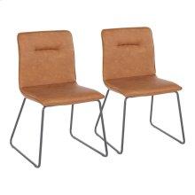 Casper Chair - Set Of 2 - Black Metal, Camel Pu