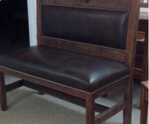 Reclaimed Barnwood & Leather Bench