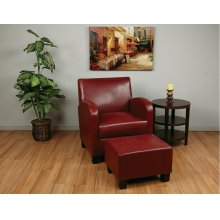 Crimson Red Faux Leather Club Chair With Ottoman