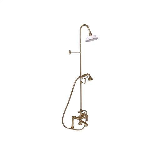 Tub Filler with Diverter Hand-Held Shower and Riser - Metal Lever 2 Handles - Polished Brass
