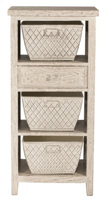Signature 3 Basket Stand With 1 Drawer - Distressed White