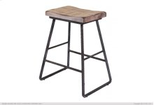 """24"""" Stool - with wooden seat & Iron footrest"""