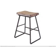 "24"" Stool - with wooden seat & Iron footrest"