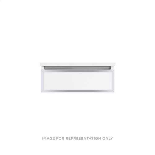 """Profiles 24-1/8"""" X 7-1/2"""" X 21-3/4"""" Framed Slim Drawer Vanity In Matte White With Chrome Finish and Slow-close Plumbing Drawer"""