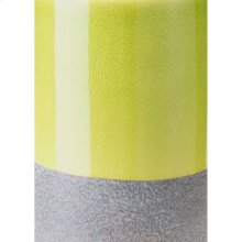 Stoneware Candle Holder Sm Green & Gray