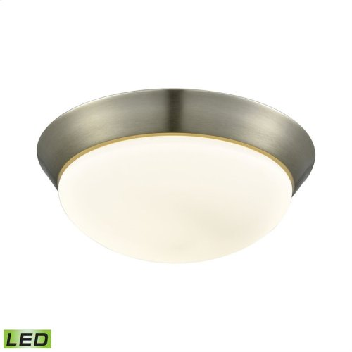 Contours 1-Light Flush Mount in Satin Nickel with Soft Opal Glass - Integrated LED - Large