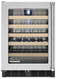 """24"""" Undercounter Wine Cellar VWCI, Clear Glass, Left Hinge/Right Handle"""