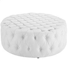 Amour Upholstered Vinyl Ottoman in White