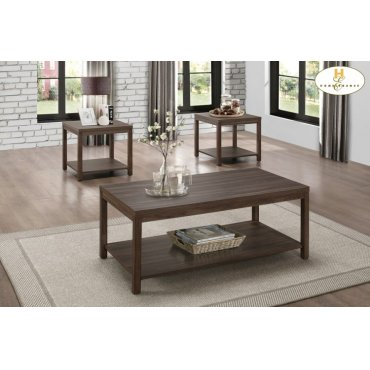 3-Piece Occasional Tables with Melamine Top and Shelf Cocktail Table with Shelf: 46 x 23 x 18H End Table with Shelf: 22 x 22 x 20H