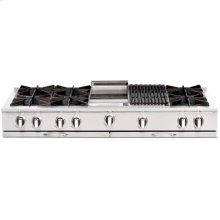 """60"""" Gas Range Top with 8 Open Burners, 12"""" Thermo-Griddle"""