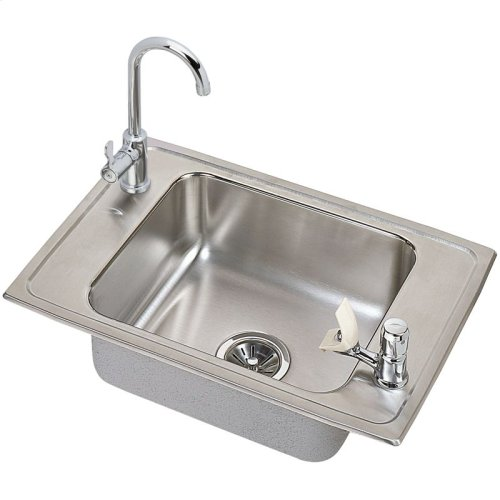 "Elkay Celebrity Stainless Steel 25"" x 17"" x 6-1/2"", Single Bowl Drop-in Classroom ADA Sink and Faucet Kit"