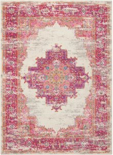 Passion Psn03 Ivory/fuchsia Rectangle Rug 5'3'' X 7'3''